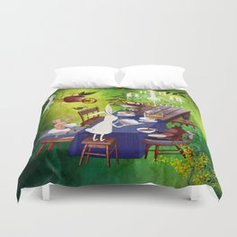 Bunny Tea Party in forest Duvet Cover