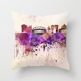 Bucharest skyline in watercolor background Throw Pillow