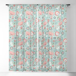 Folk Art Florals in Mint Sheer Curtain