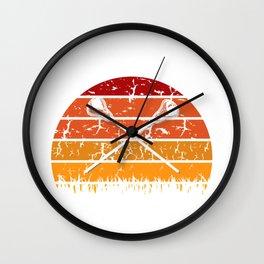 Vintage Retro Lacrosse Player Silhouette Sun Gift Lacrosse Player Gift Idea Wall Clock