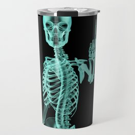 X-ray Bird / X-rayed skeleton demonstrating international hand gesture Travel Mug