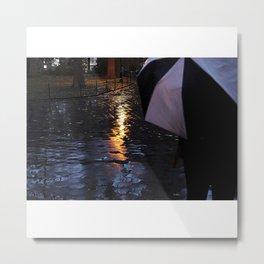 Rainy Days with an Umbrella Metal Print
