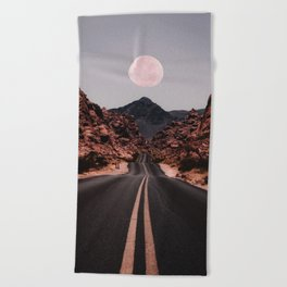 Road Red Moon Beach Towel