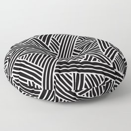 Abstract black & white Lines and Triangles Pattern - Mix and Match with Simplicity of Life Floor Pillow