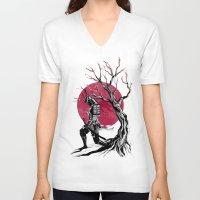 redhead V-neck T-shirts featuring Redhead samurai by Rafapasta