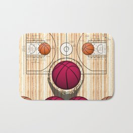 Colorful Pink basketballs on a Basketball Court Bath Mat