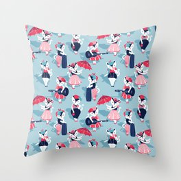 Rockabilly cats // pastel blue background white pin-up cats in fancy red pink and navy blue outfits Throw Pillow