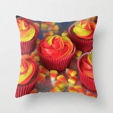 Candy Corn Cupcakes Throw Pillow