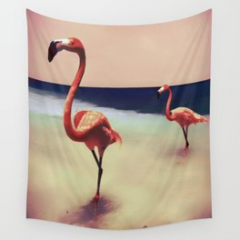 Flamingo beach Wall Tapestry