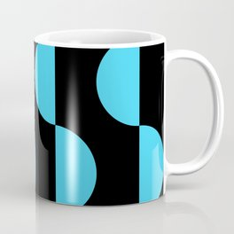 Mid century modern abstract moon wave geometric art  (blue on black) Coffee Mug
