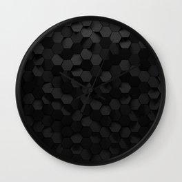 Black abstract hexagon pattern Wall Clock