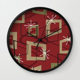 Mid Century Modern Maroon Wall Clock