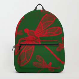 Red embroidered dragonflies on green textured background Backpack