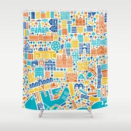 Vianina Barcelona City Map Poster Shower Curtain