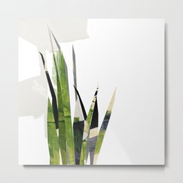 Modern vegetation green and grayscale artprint illustration Metal Print