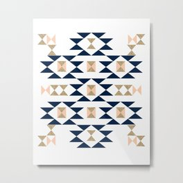 Jacs - Modern pattern design in aztec themed pattern navajo print textile cute trendy girl Metal Print