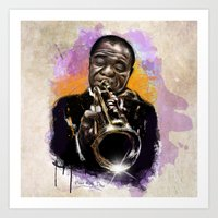 louis armstrong Art Prints featuring Louis Armstrong by Philipe Kling