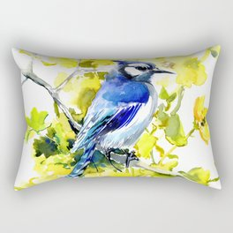 BLue Jay and Yellow Flowers Rectangular Pillow