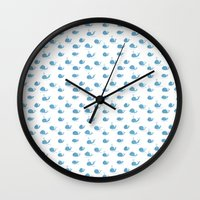 whales Wall Clocks featuring whales by Maya Bee Illustrations