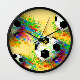 Football soccer sports colorful graphic design Wall Clock