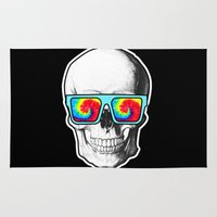 psychadelic Area & Throw Rugs featuring Psychadelic Skull Tiedye glasses by Chara Chara