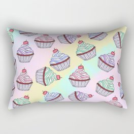 Cute Colorful Rainbow Foodie Cherry Cupcakes Rectangular Pillow
