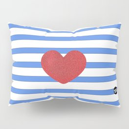 Red Heart and Blue Stripes Pillow Sham