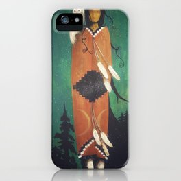 Wise Woman // Native American Woman Shaman Shamanism Owl Spirit Animal Feather Tree Turquoise Indian iPhone Case