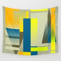 metropolis Wall Tapestries featuring METROPOLIS | yellow by Cheryl Daniels