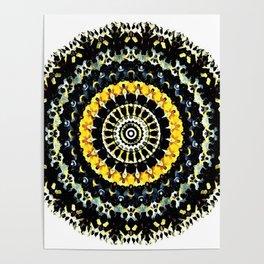 Mandala - Black and Yellow Poster