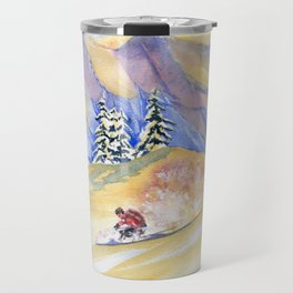 Powder Skiing Art Travel Mug
