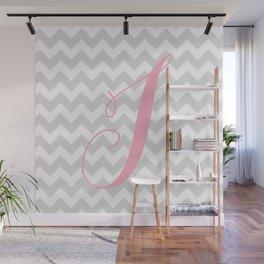"Gray Chevron with Pink ""J"" Monogram Wall Mural"