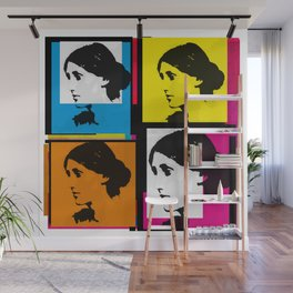 VIRGINIA WOOLF (FUNKY COLOURED COLLAGE) Wall Mural