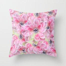 Shocking Pink Flora Gems Throw Pillow