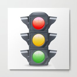Traffic Lights Realistic Metal Print