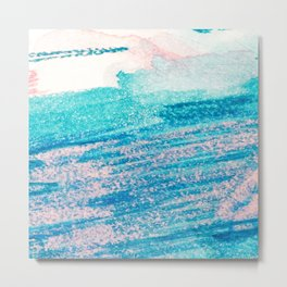 Abstract hand painted blue teal pink watercolor brushstrokes Metal Print