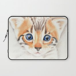 Cute Bengal Kitten Colored Pencil Art Laptop Sleeve