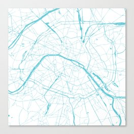 Paris France Minimal Street Map - Turquoise Blue and White Canvas Print