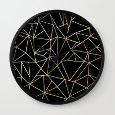 Abstraction Outline Gold on Black Wall Clock