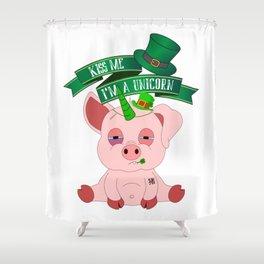 St Patrick's Day Kiss Me I'm A Unicorn Pig Shower Curtain