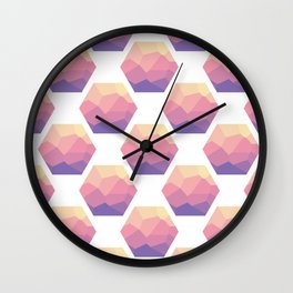 Low poly hexagons Wall Clock