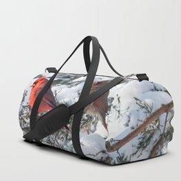 Sunny Winter Cardinals (square) Duffle Bag