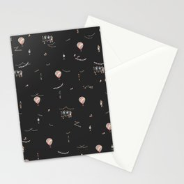 Young Forever Pattern - Black Stationery Cards