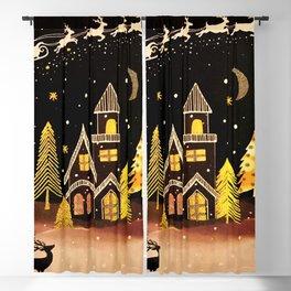 Gold Christmas Village Deer Winter Night  Blackout Curtain
