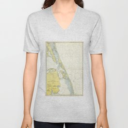 Vintage Map of The Outer Banks (1942) Unisex V-Neck