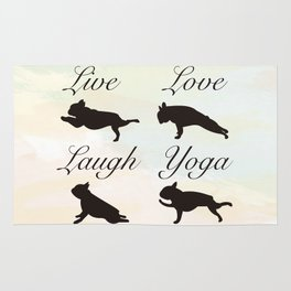 Live Love Laugh Yoga! French Bulldog Yoga design Rug