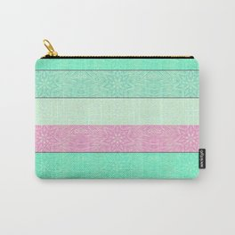 Pink Mint Green Snowflake Stripes Carry-All Pouch