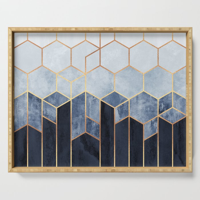 Soft Blue Hexagons Serving Tray