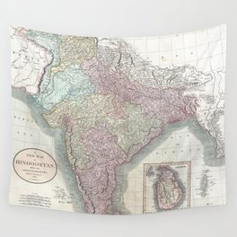 Vintage Map of India (1806) Wall Tapestry