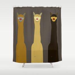 Triple LLAMAS ALPACAS CAMELS - Dark Shower Curtain
